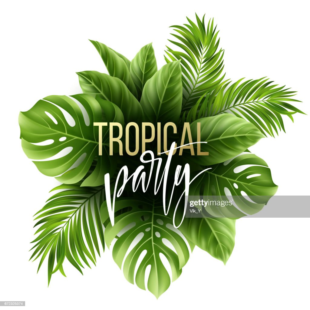 Summer tropical leaf background with exotic palm leaves. Party flyer template. Handwriting lettering. Vector illustration