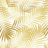 Summer tropical palm tree leaves seamless pattern. Vector grunge design for cards, web, backgrounds and natural product.
