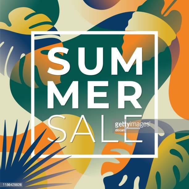 illustrations, cliparts, dessins animés et icônes de bannière de vente tropicale d'été avec des feuilles de palmier et des usines exotiques. - exotisme