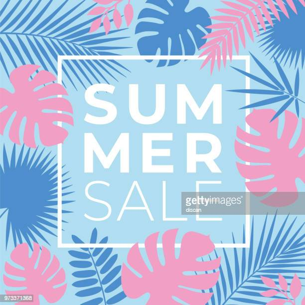 ilustrações, clipart, desenhos animados e ícones de banner de venda tropical de verão com folhas de palmeiras e plantas exóticas - verão