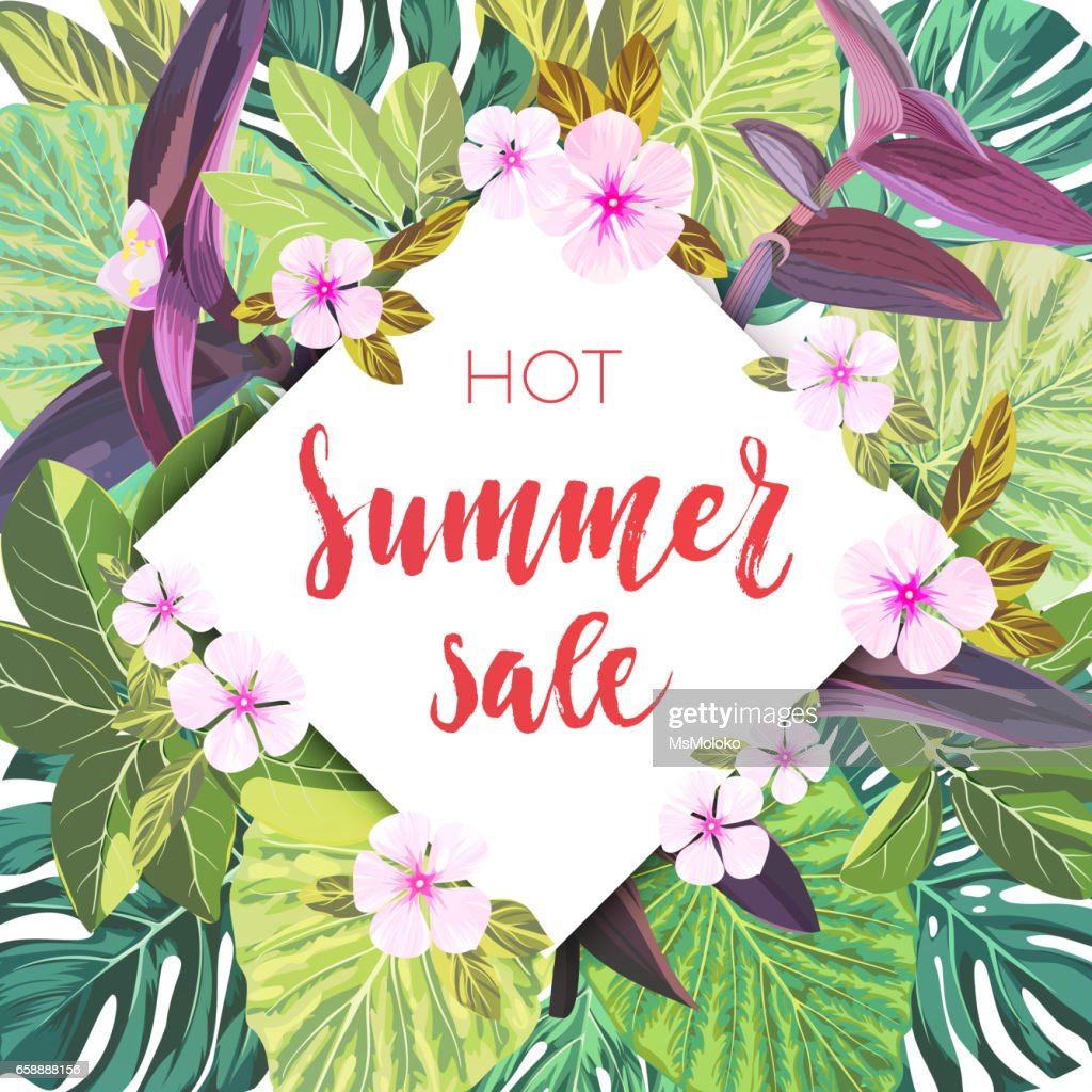 Summer Tropical Sale Design With Exotic Pink And Purple Flowers