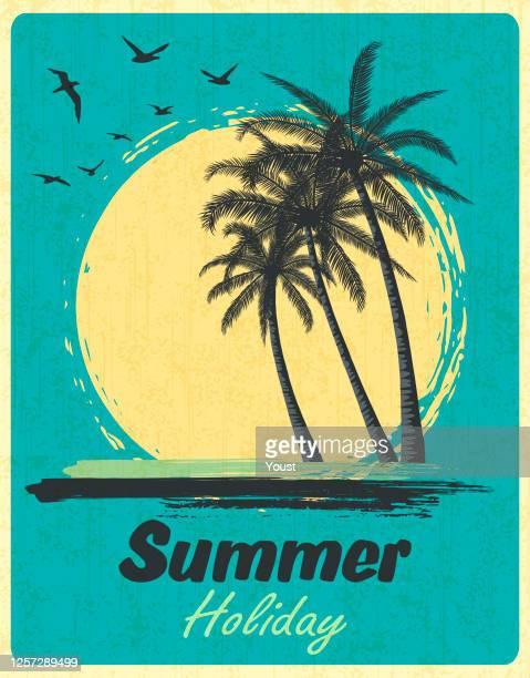 ヤシの木と夏の熱帯の夕日。レトログランジの背景。 - 南点のイラスト素材/クリップアート素材/マンガ素材/アイコン素材