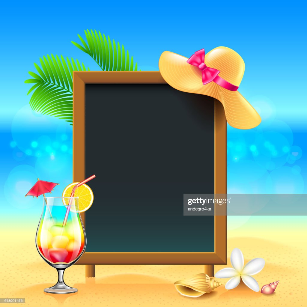 summer vacation background with cocktail and menu board clipart