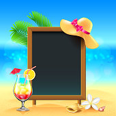 Summer vacation background with cocktail and menu board