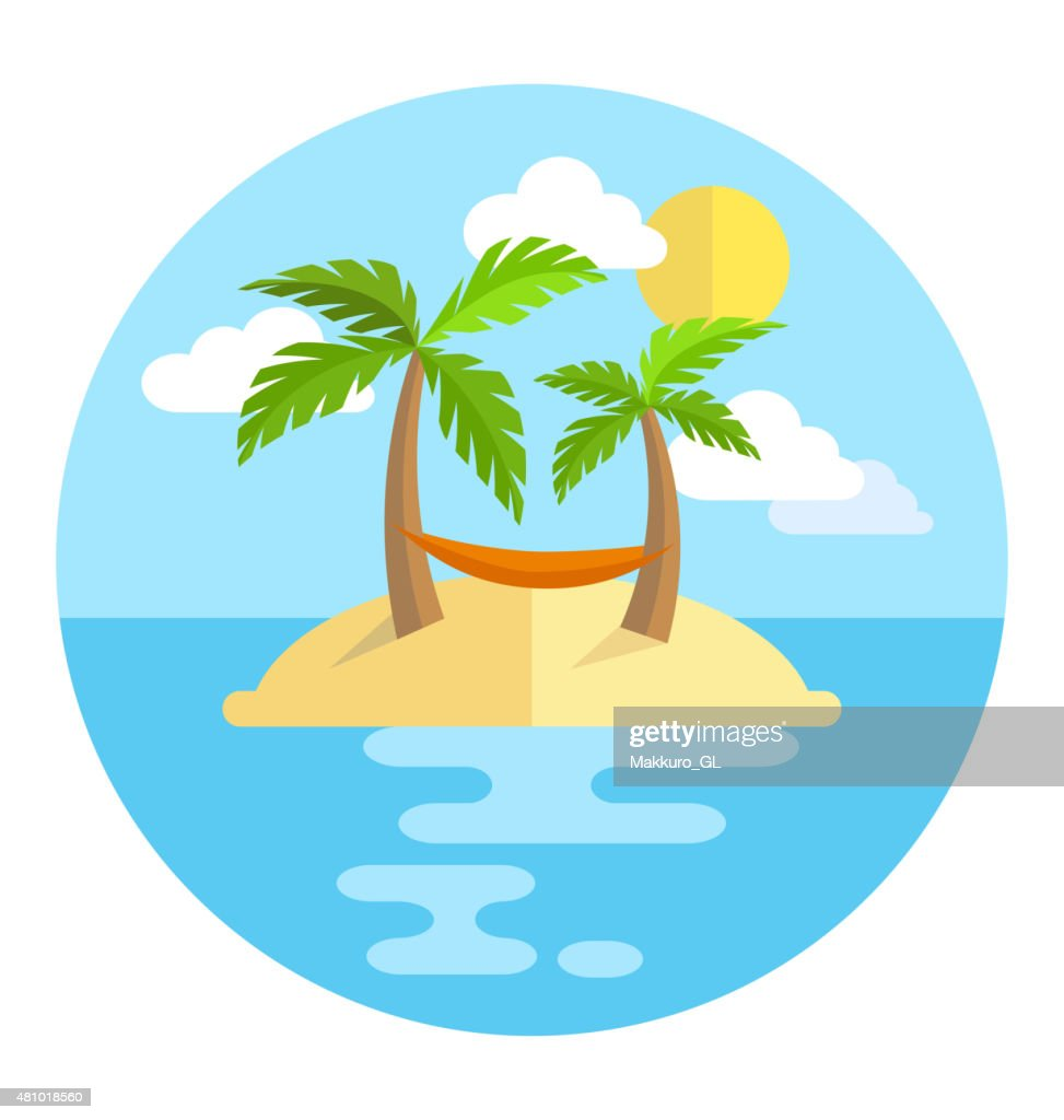 Summer vacation circle icon island with palms sun and hammock