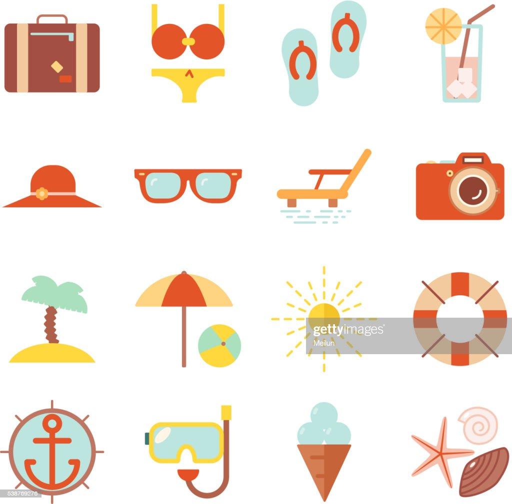 Summer vacation color beach resort accessorize vector symbols icon flat