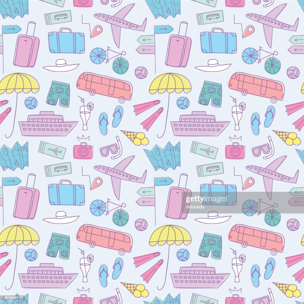Summer vacation  colorful doodle seamless pattern