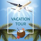 Summer vacation concept. Illustration with white square frame. Palm leaves, airplane, coconut cocktail on sunny sky background. Design template for your poster, advertising,banner.