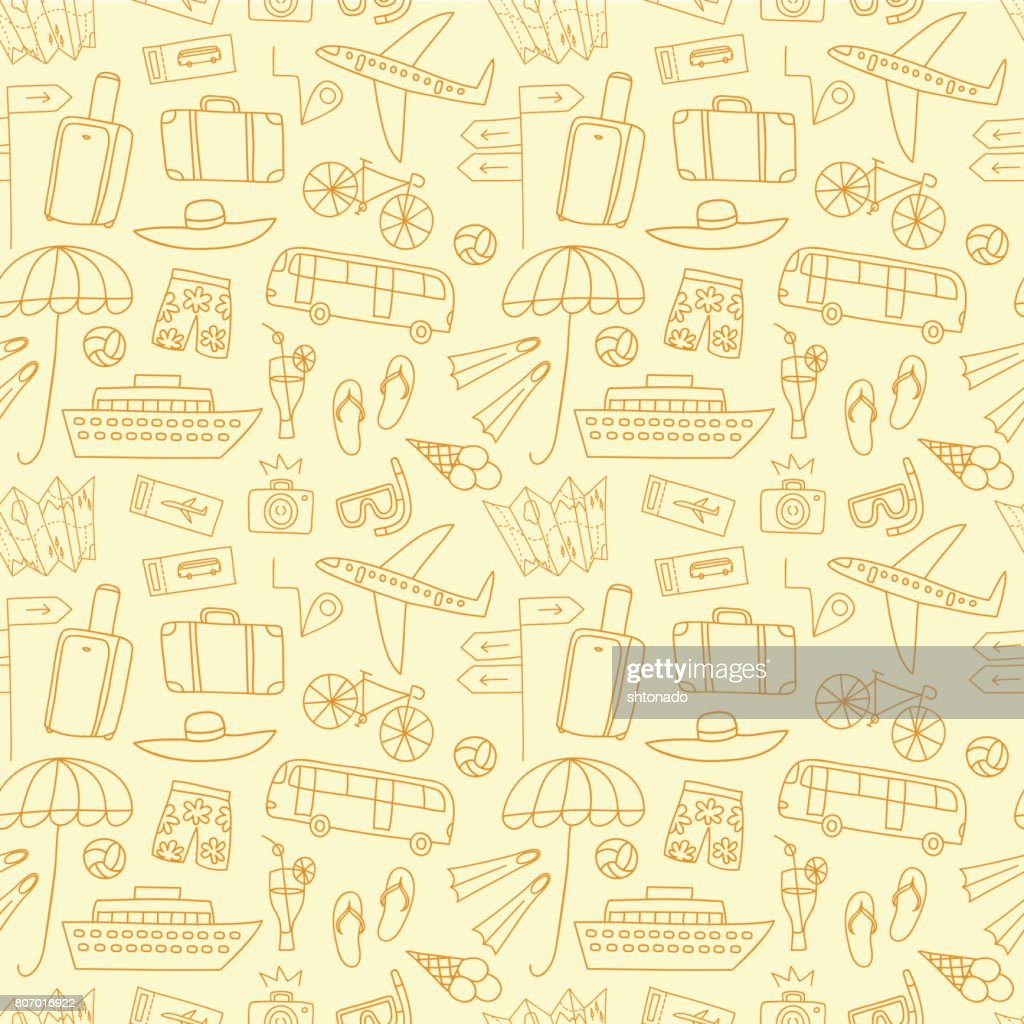 Summer vacation doodle seamless pattern