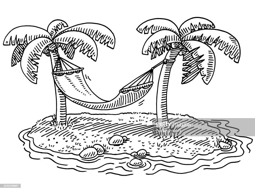 Summer Vacation Hammock Palm Beach Drawing : stock illustration