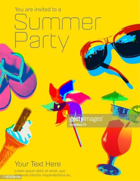 illustrations, cliparts, dessins animés et icônes de icônes de vacances d'été - vacances