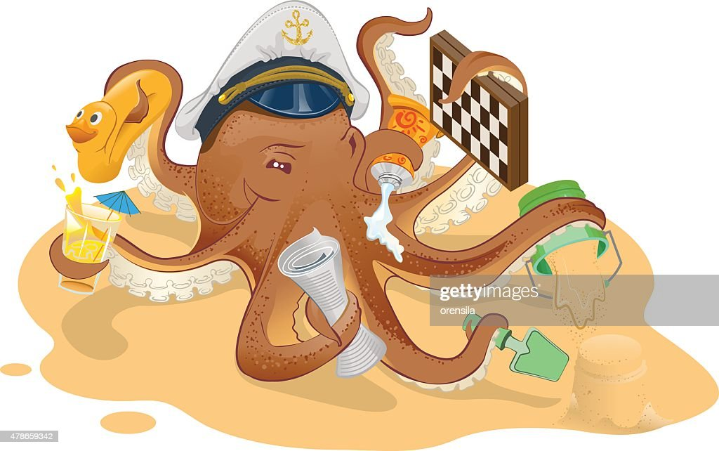 Summer vacation. Octopus has good time on beach