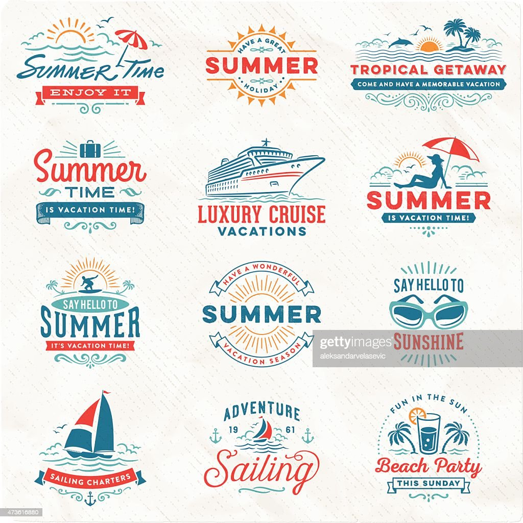 Summer Vacation, Surfing, Sailing, Beach Signs and Badges : stock illustration