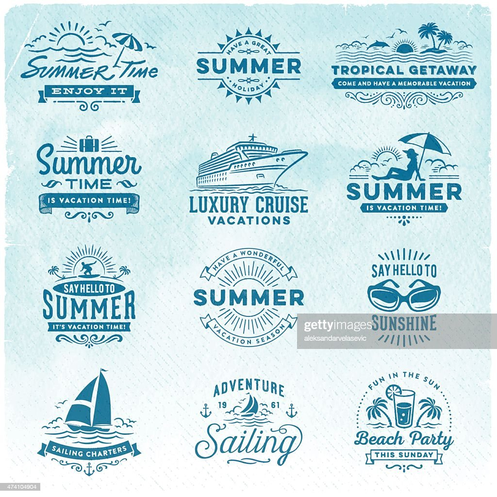 Summer Vacation, Surfing, Sailing, Beach Signs and Badges