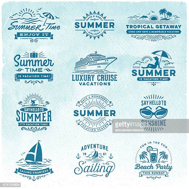 stockillustraties, clipart, cartoons en iconen met summer vacation, surfing, sailing, beach signs and badges - sporting term