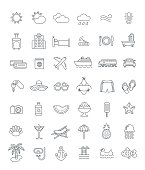 Summer vacation travel thin line vector icons
