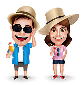 Summer Vacation Vector Characters of Couples Drinking Juices