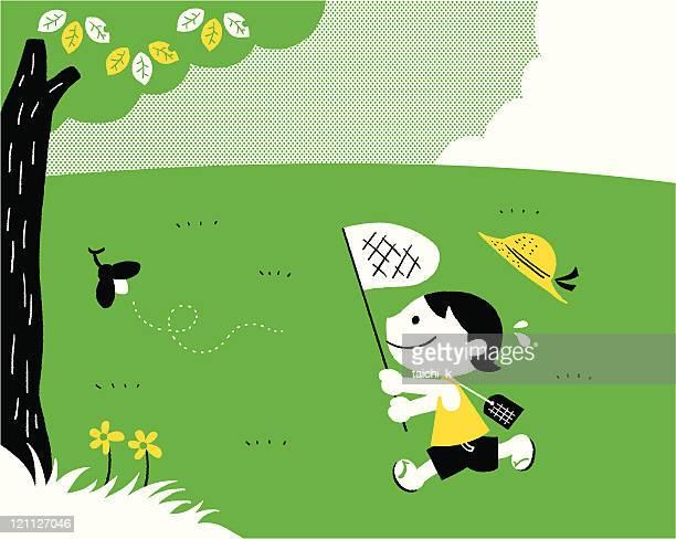 summer vacation - animals hunting stock illustrations