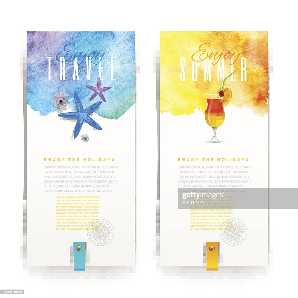 Summer vacation watercolor banners - vector illustration
