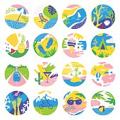 Summer vacations circle icons