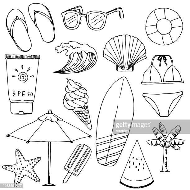 ilustrações de stock, clip art, desenhos animados e ícones de summer vacations drawing set - concha do mar