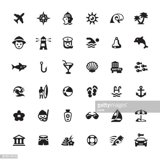 summer vacations icons set - diving stock illustrations