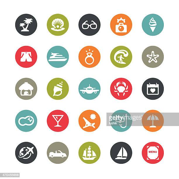 Summer Vacations related vector icons / Ringico series