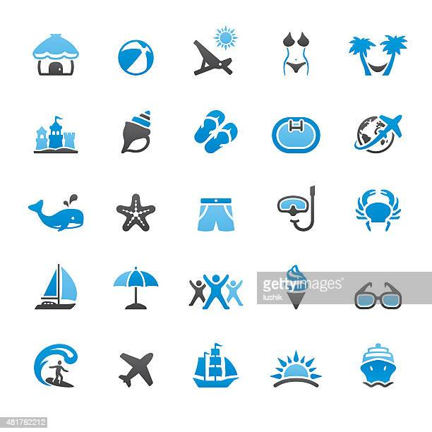 summer vacations related vector icons - swimwear stock illustrations, clip art, cartoons, & icons