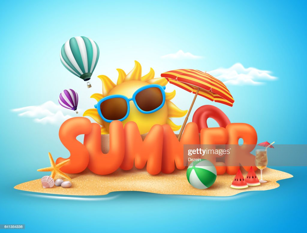 Summer vector banner design concept of 3d text