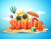 Summer vector banner design concept of 3d text