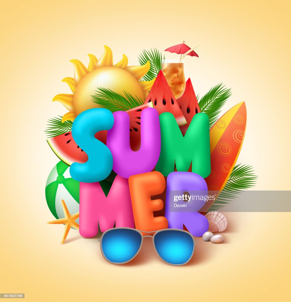 Summer vector banner design with 3d colorful summer text