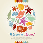 Summer vector concept with shells and sea stars