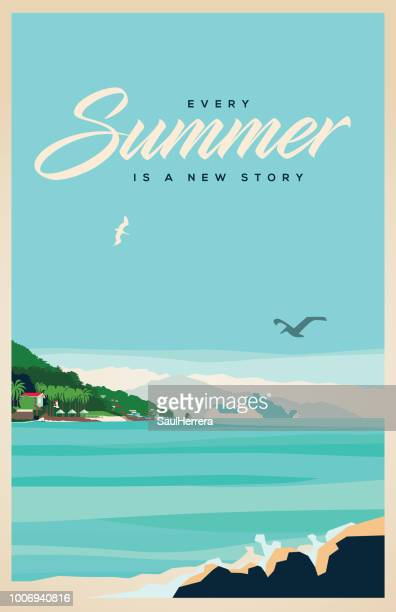 stockillustraties, clipart, cartoons en iconen met zomer - strand