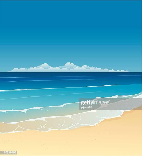 """illustrations, cliparts, dessins animés et icônes de """"été"""" - paysage marin"""