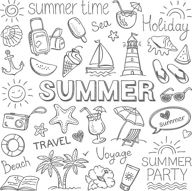 summer - doodle stock illustrations