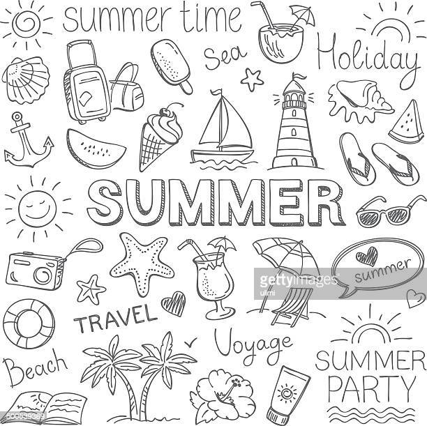 summer - pencil drawing stock illustrations, clip art, cartoons, & icons