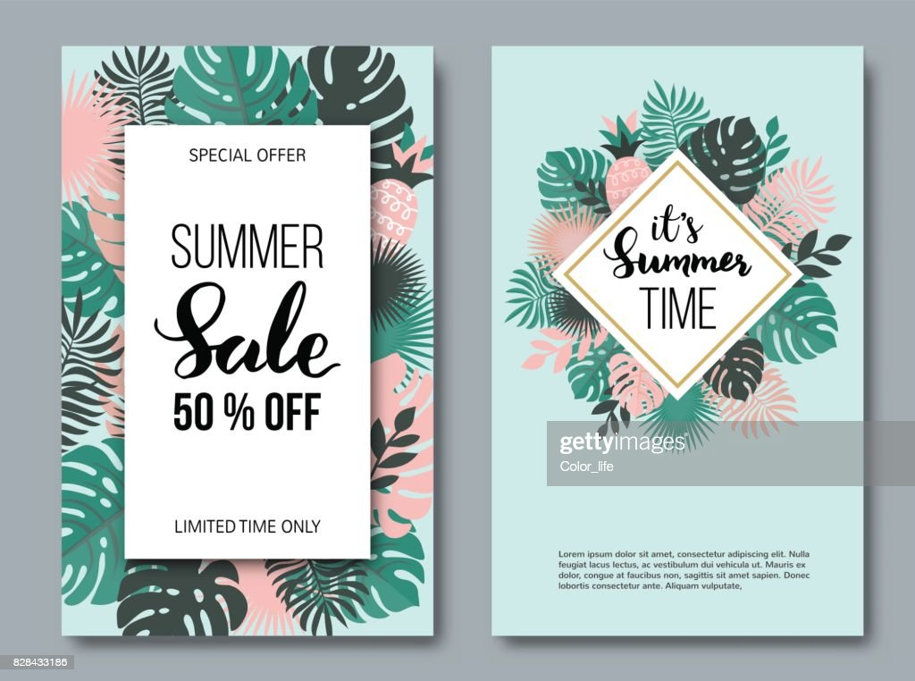 Summer vertical banner set