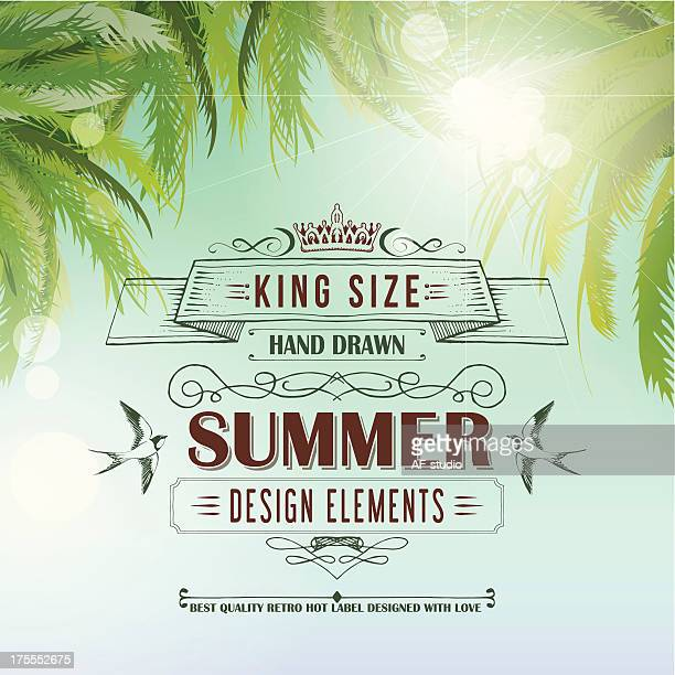 Summer vintage background with maroon letters and palm trees