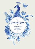 Summer vintage wedding invitation round frame with blue peacock