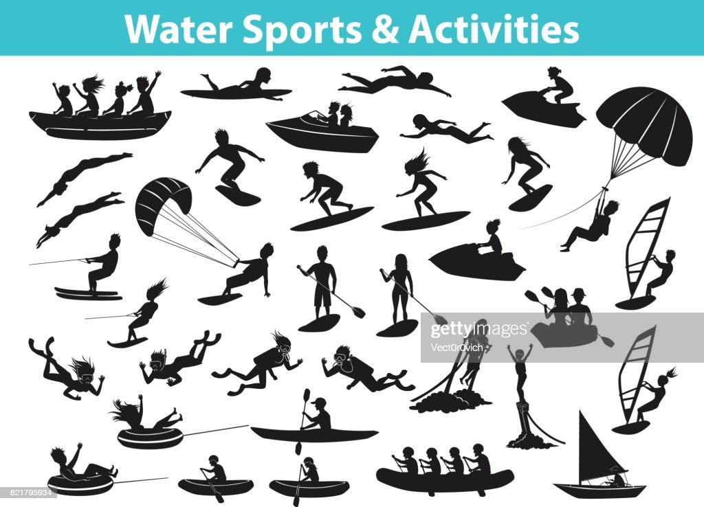 Summer water beach sports, activities SIlhouette set