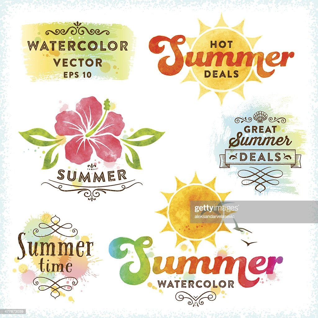 Summer Watercolor Design Elements