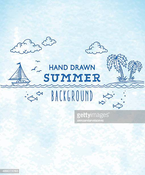 summer watercolor drawing background - sailing boat stock illustrations, clip art, cartoons, & icons