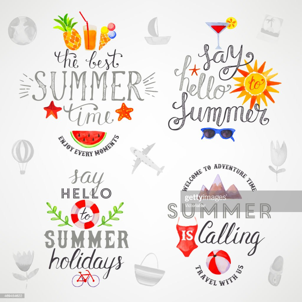 Summer watercolor lettering
