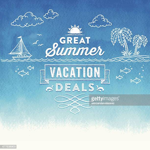 summer watercolor sign - travel tag stock illustrations, clip art, cartoons, & icons
