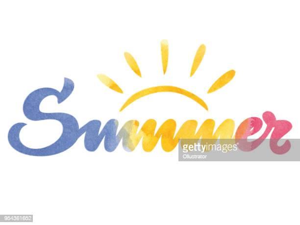 夏水彩タイポグラフィ - 単語点のイラスト素材/クリップアート素材/マンガ素材/アイコン素材