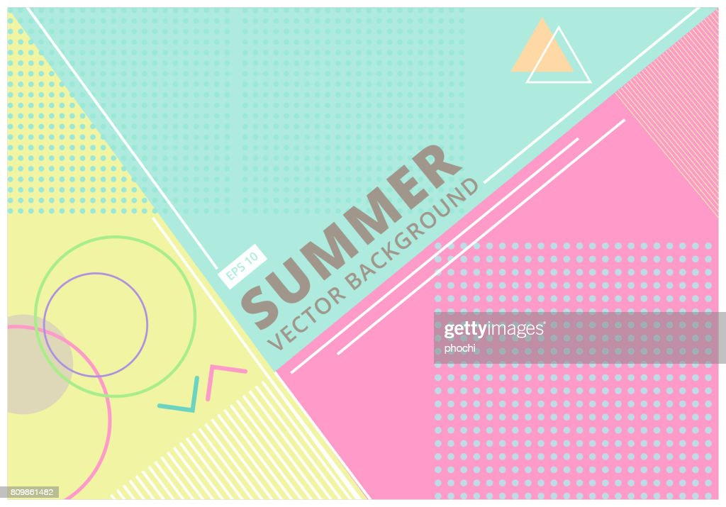 summer with retro style texture pastel color, pattern and geometric elements. Abstract design card perfect for prints, flyers,banners,invitations, Vector