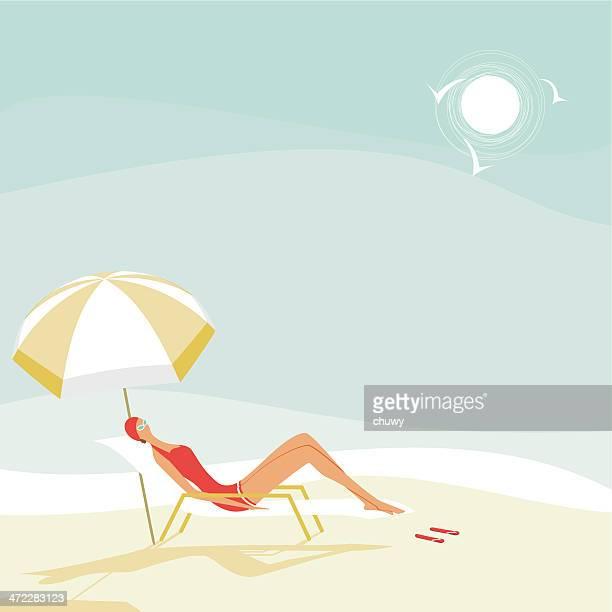 illustrations, cliparts, dessins animés et icônes de femme de l'été sur la plage - bain de soleil