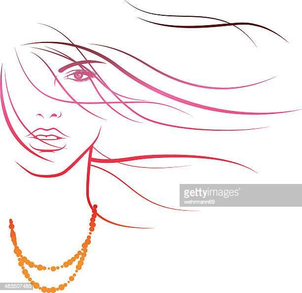 illustrations, cliparts, dessins animés et icônes de brise estivale à cheveux - cheveux