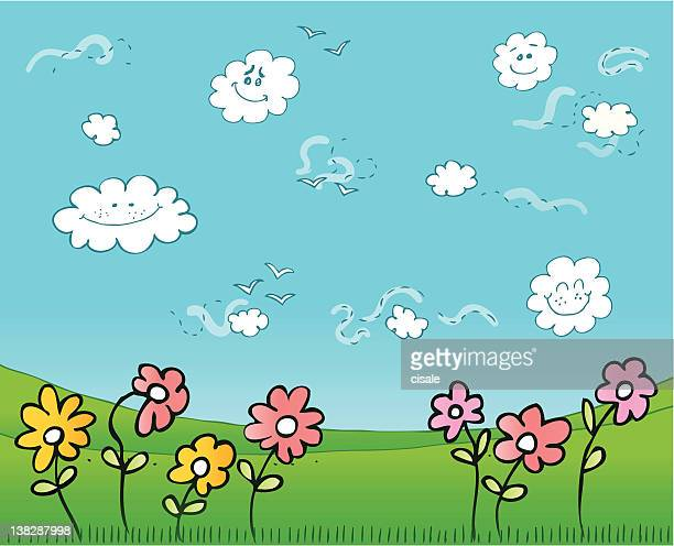 summer,spring green nature view with birds,sky,grass illustration