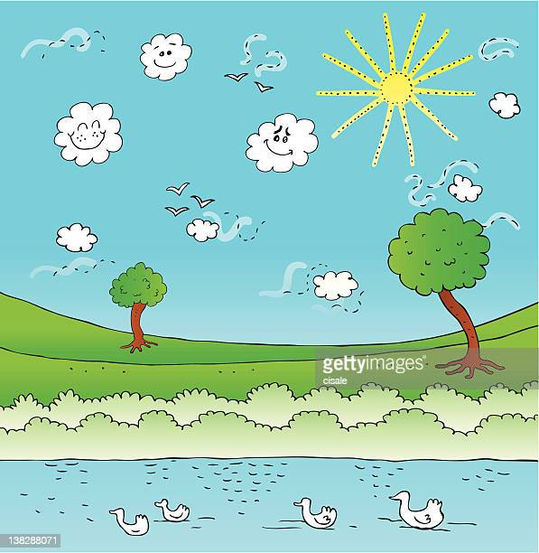 summer,spring green nature view with birds,sky,tree,pond